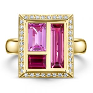 Chocolate-Box-Rose-Cocktail-Ring-Pink-Sapphire-Ruby-and-Rubellite-in-18ct-yellow-Gold