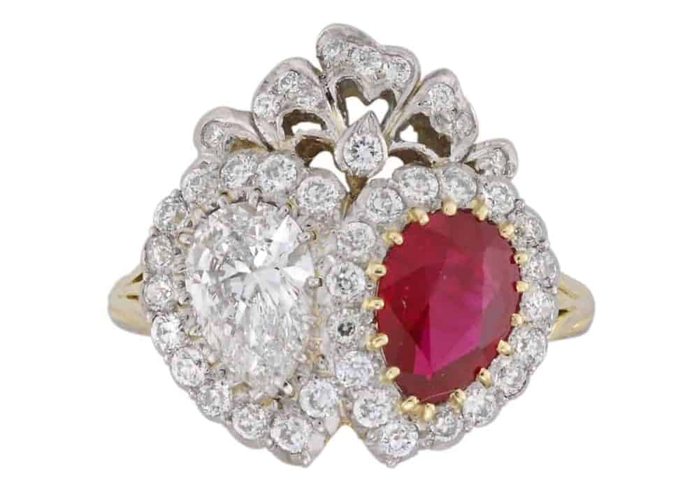 ruby and diamond double heart ring