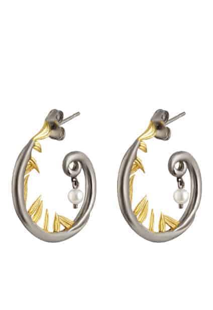 Artemisia Sterling Silver and Pearl Hoop earrings