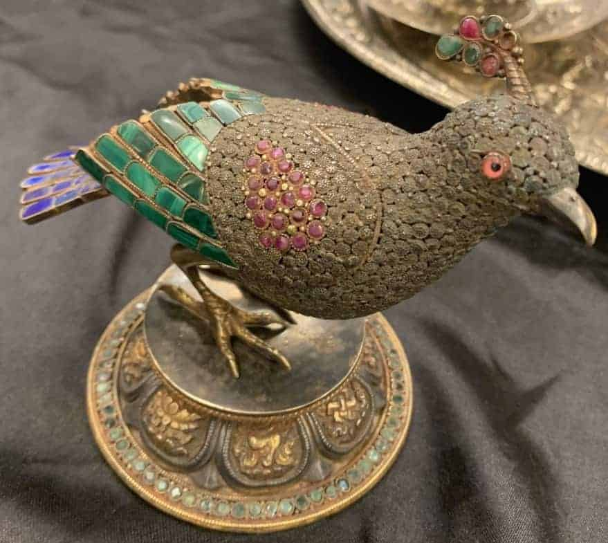 300-year-old peacock statuette