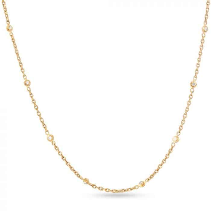 22ct Real Gold Chain with Polki Stones