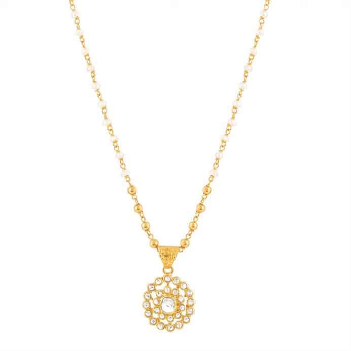 22 carat Gold Pendant With Uncut Polki Diamonds