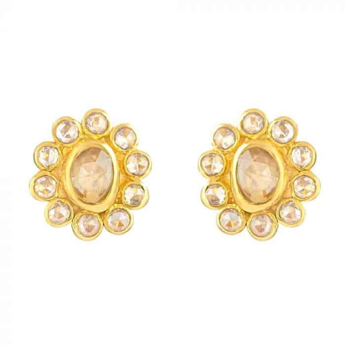 22KT Gold Uncut Polki Stud Earrings