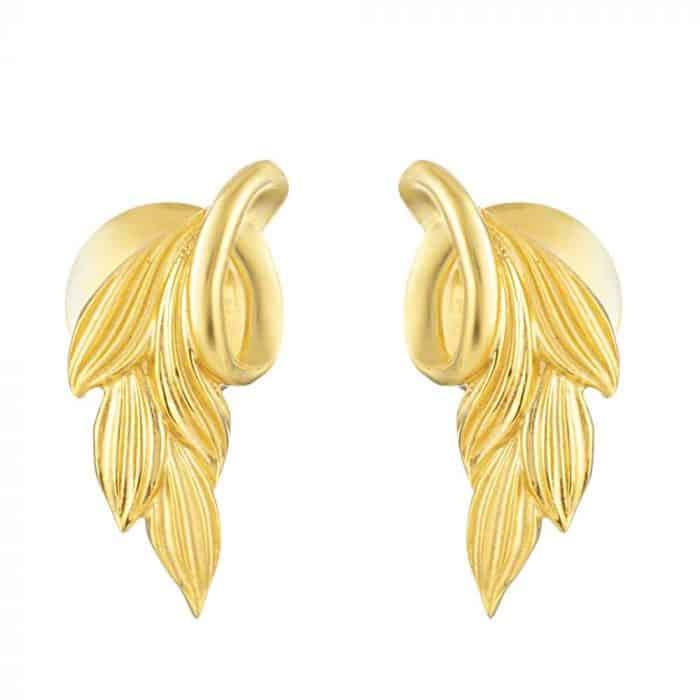22ct Gold Leaf Stud Earring