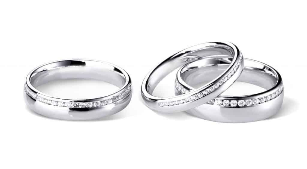 Diamond Set Platinum Wedding Rings