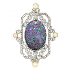 Opal And Diamond Brooch