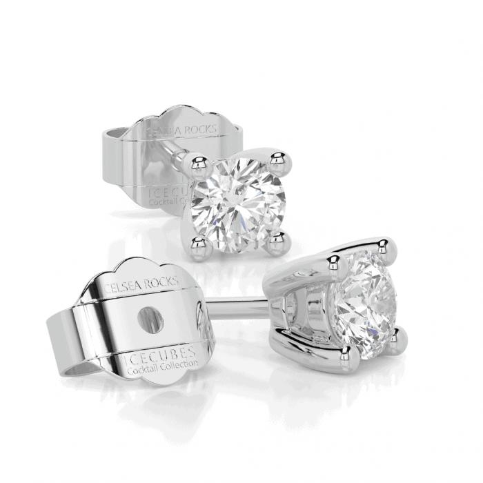 ICE CUBE – 18 carat white gold 0.20ct laboratory grown diamond single stone stud earrings