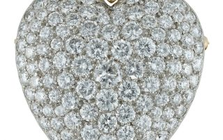 Diamond Set Heart Brooch Pendant