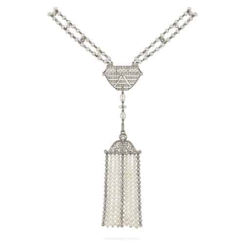 natural pearl and diamond sautoir necklace