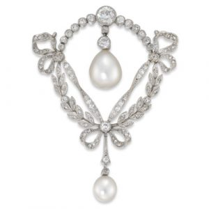 Fine Edwardian Natural Pearl And Diamond Brooch