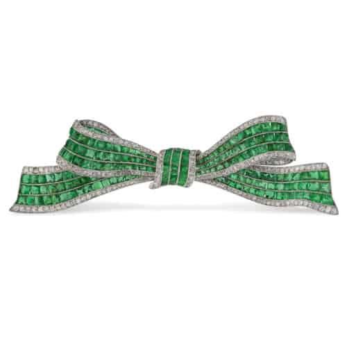 Emerald And Diamond Bow Brooch