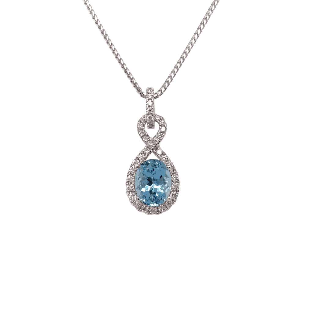 Aqua and Diamond pendant