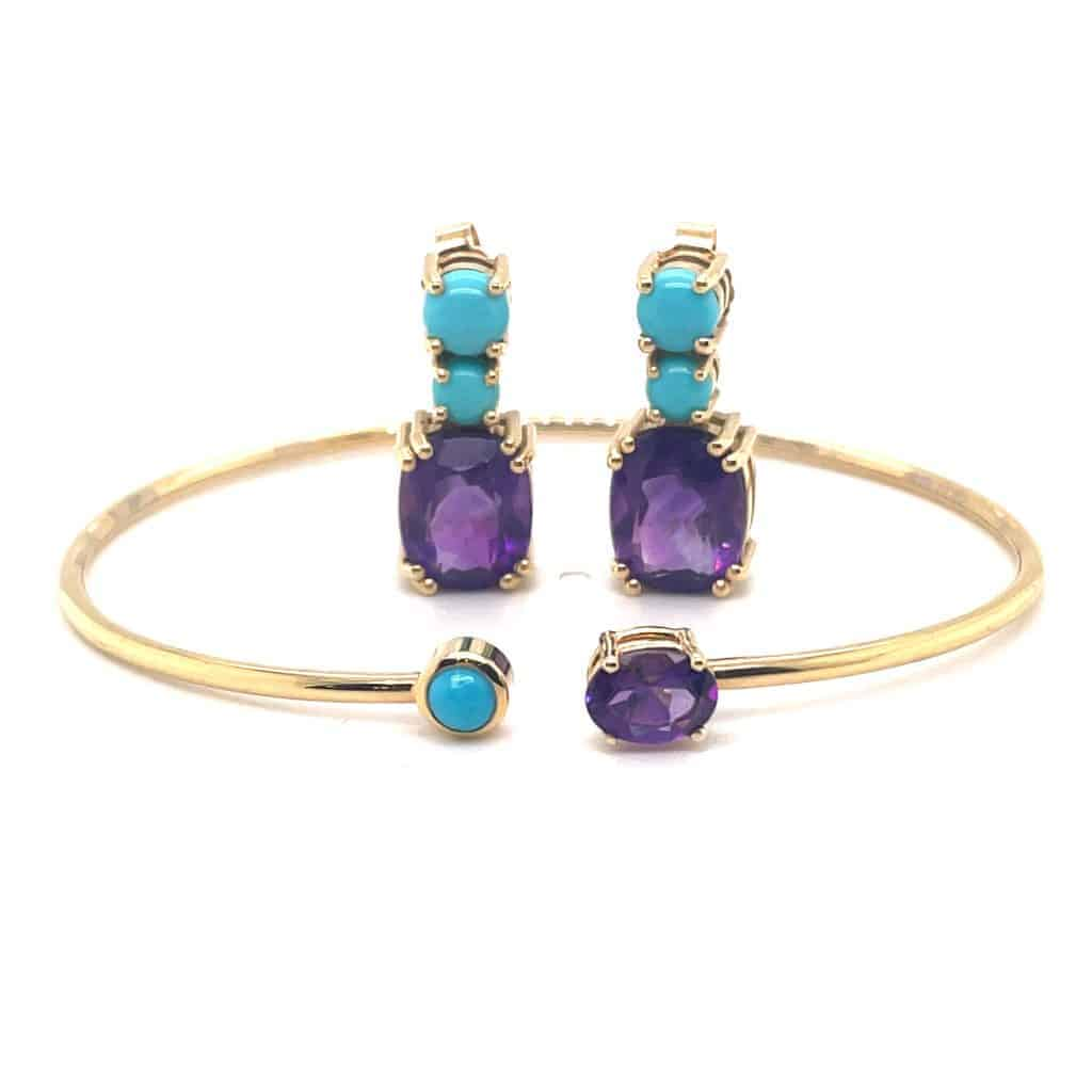 Turquoise and Amethyst bangle and earring